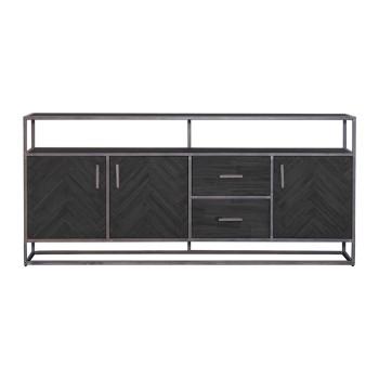 Dressoir Hudson 3drs. 2 laden - zwart meubelen