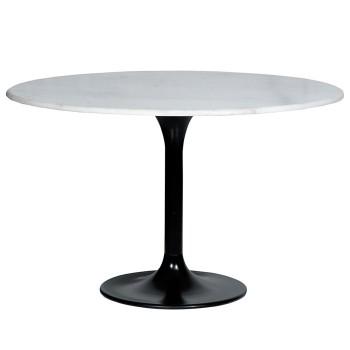 Tafels Eettafel marmer rond wit - 120x76 Eleonora