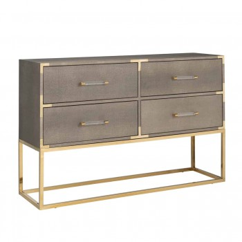 Kasten Dressoir Calesta 4-laden shagreen look (Goud) Richmond Interiors