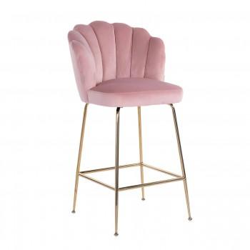 Stoelen Barstoel Pippa Pink Velvet / gold Richmond Interiors