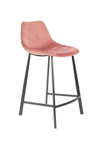 Stoelen Franky Velvet counter stool  barstool Dutchbone