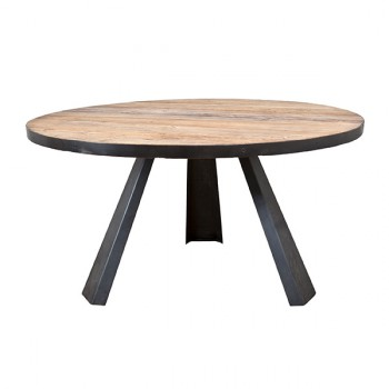 Dining table round with metal leg meubelen
