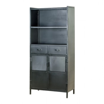 Kasten Bookcase 2 doors 2 drawers - black Eleonora