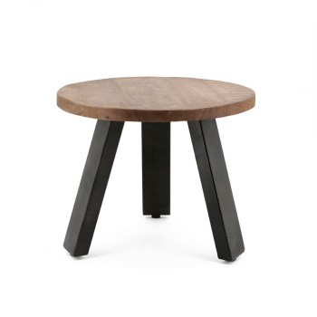 Solid Mango side table with metal leg meubelcollecties